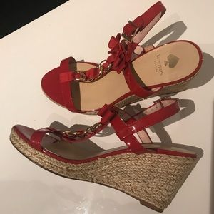 Kate Spade red and gold wedge sandals